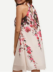 Band Collar  Floral Printed  Chiffon Shift Dress