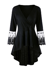 V-Neck  Patchwork  Lace Plain  Bell Sleeve  Long Sleeve Plus Size T-Shirts