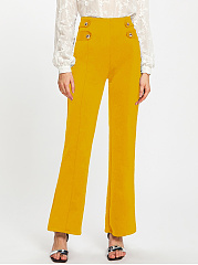Casual-Solid-Decorative-Button-High-Rise-Wide-Leg-Pants