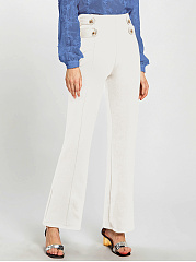 Casual Solid Decorative Button High-Rise Wide-Leg Pants