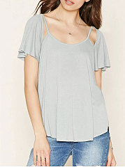 Spring Summer  Polyester  Women  Asymmetric Neck  Backless Flounce  Plain  Bell Sleeve Short Sleeve T-Shirts