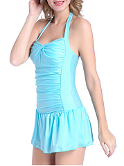 Skirted Ruched Halter  Plain One Piece
