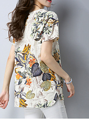 Loose Split Neck Printed High-Low Blouse