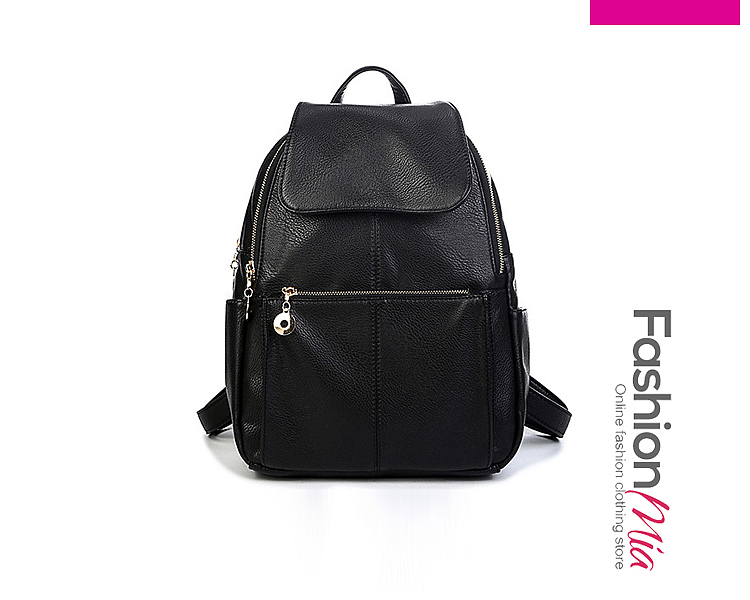 Leather Zips Plain Backpacks