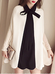 Doll Collar  Asymmetric Hem Bowknot Patchwork  Plain  Long Sleeve Cape
