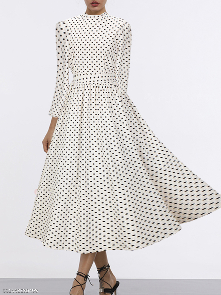 High Neck  Polka Dot Maxi Dress