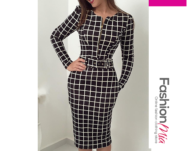thickness:regular, brand_name:fashionmia, style:western, material:blend, collar&neckline:sweet heart, sleeve:long sleeve, pattern_type:plaid, length:knee-length, how_to_wash:cold  hand wash, supplementary_matters:all dimensions are measured manually with a deviation of 2 to 4cm.,belt is included.,the fabric is slightly elastic., occasion:daily*date, season:autumn*winter, dress_silhouette:sheath, package_included:dress*1, length:97,bust:84,waist:70,hip:88,