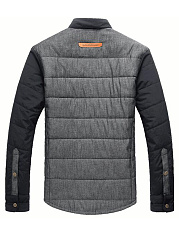 Men Single Breasted Quilted Padded Coat