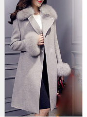Faux Fur Collar  Belt  Plain  Long Sleeve Coats