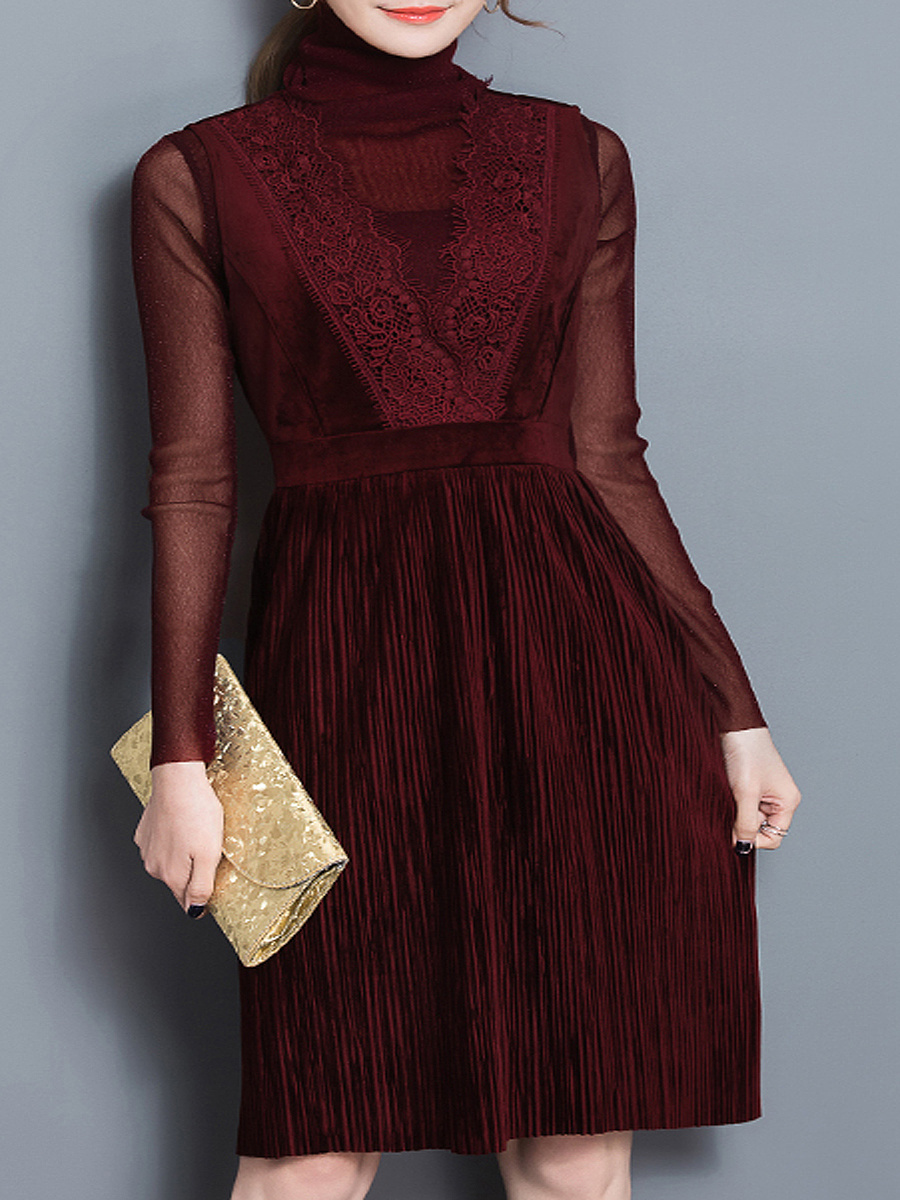 High Neck  Decorative Lace  Plain  A-Line Shift Dresses
