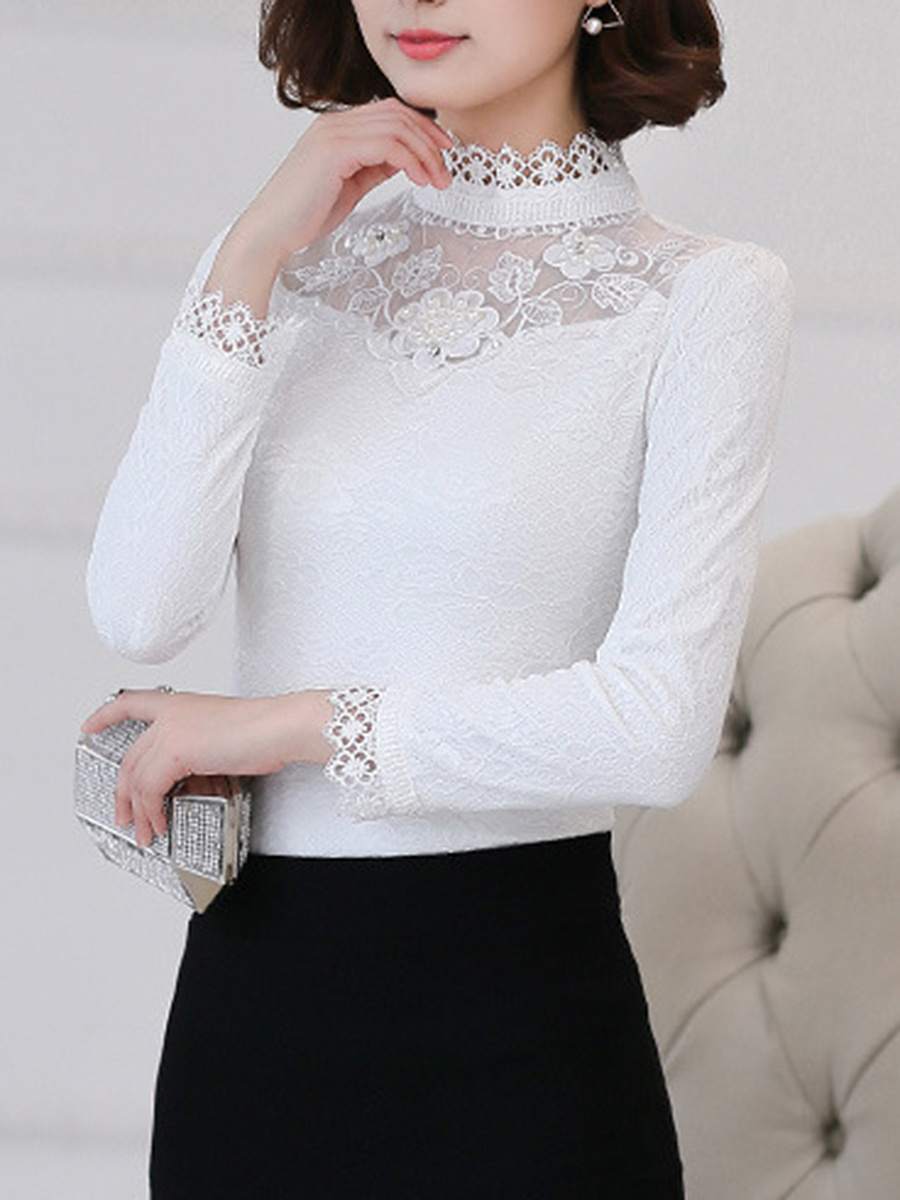 Band Collar See-Through  Plain Blouse