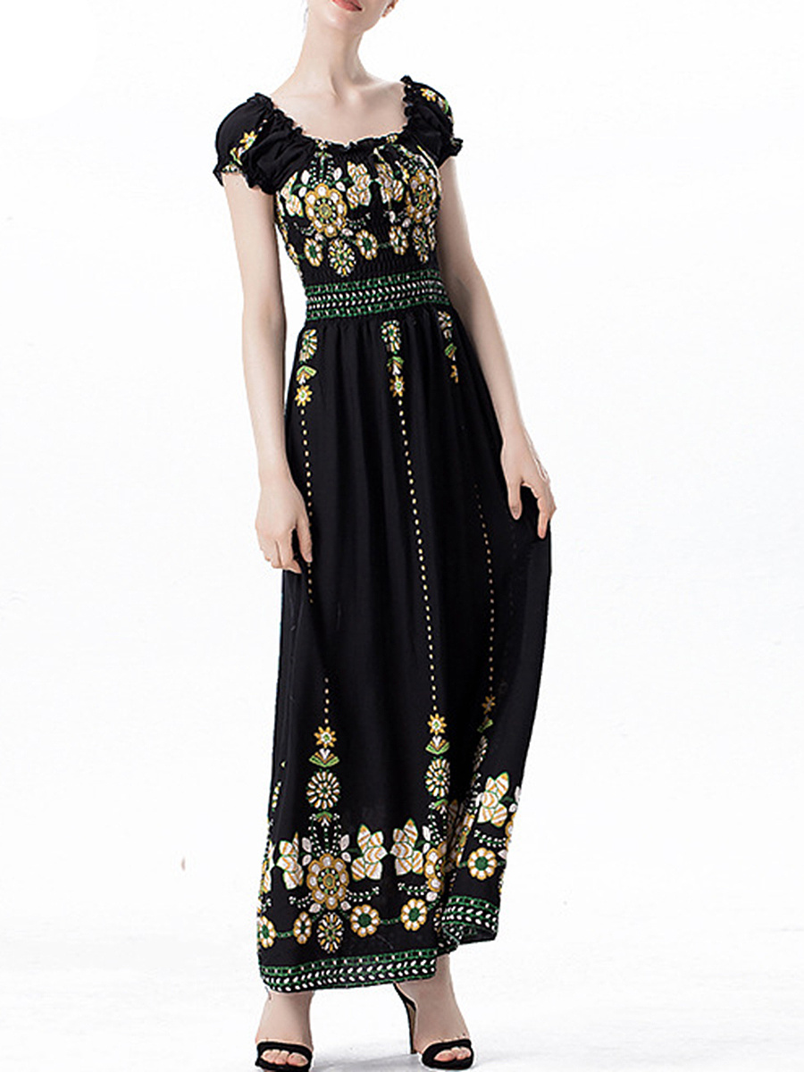 Absorbing Printed Two Way Smocked Bodice Maxi Dress