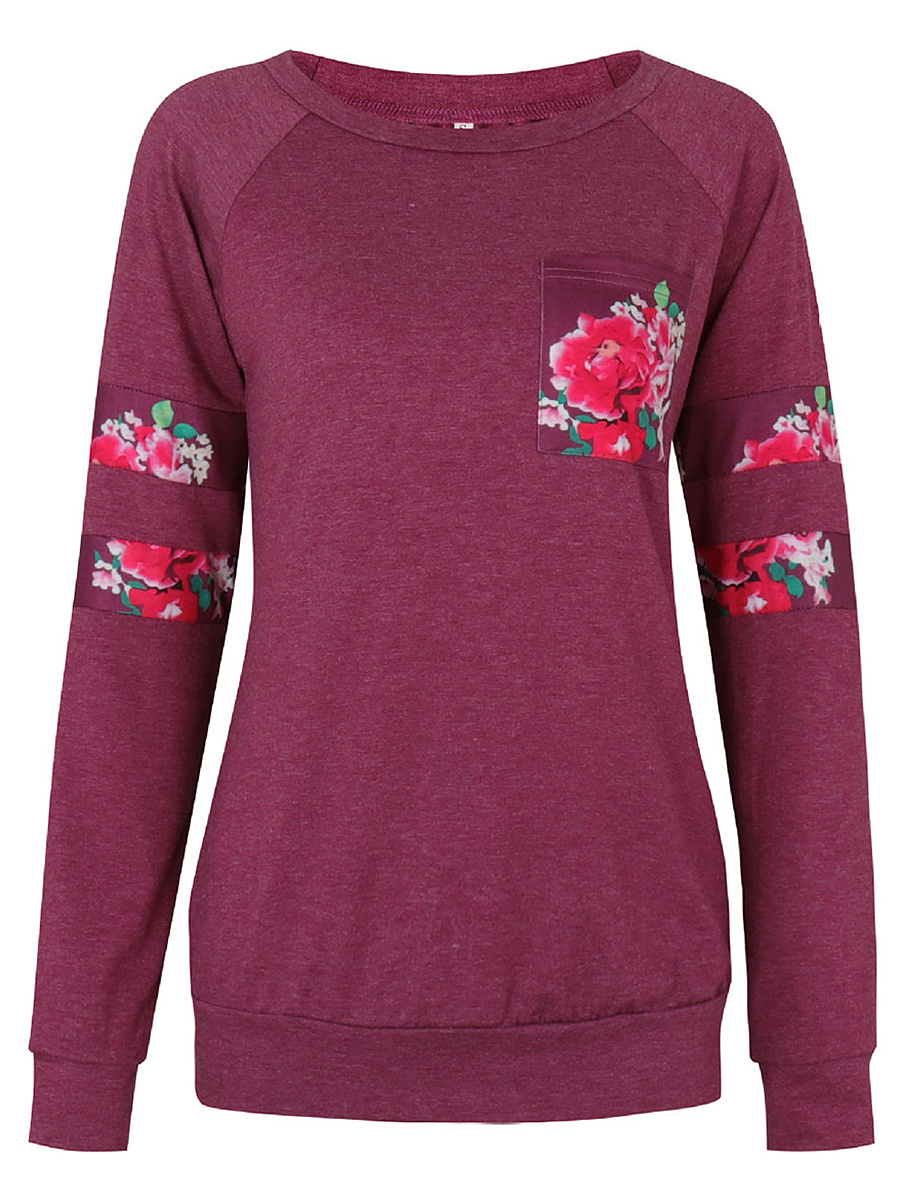 Round Neck  Patch Pocket  Floral Printed Long Sleeve T-Shirt