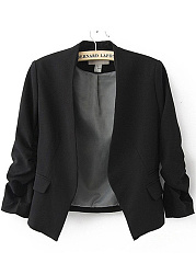 Collarless Plain Ruched Sleeve Blazer