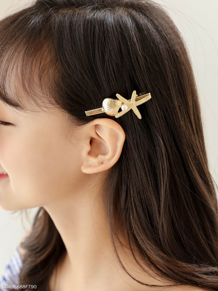 Shell And Starfish Shape Hair Clip