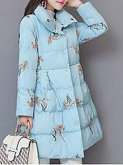 Fold-Over Collar  Bowknot Peplum Single Breasted  Embroidery  Long Sleeve Coats