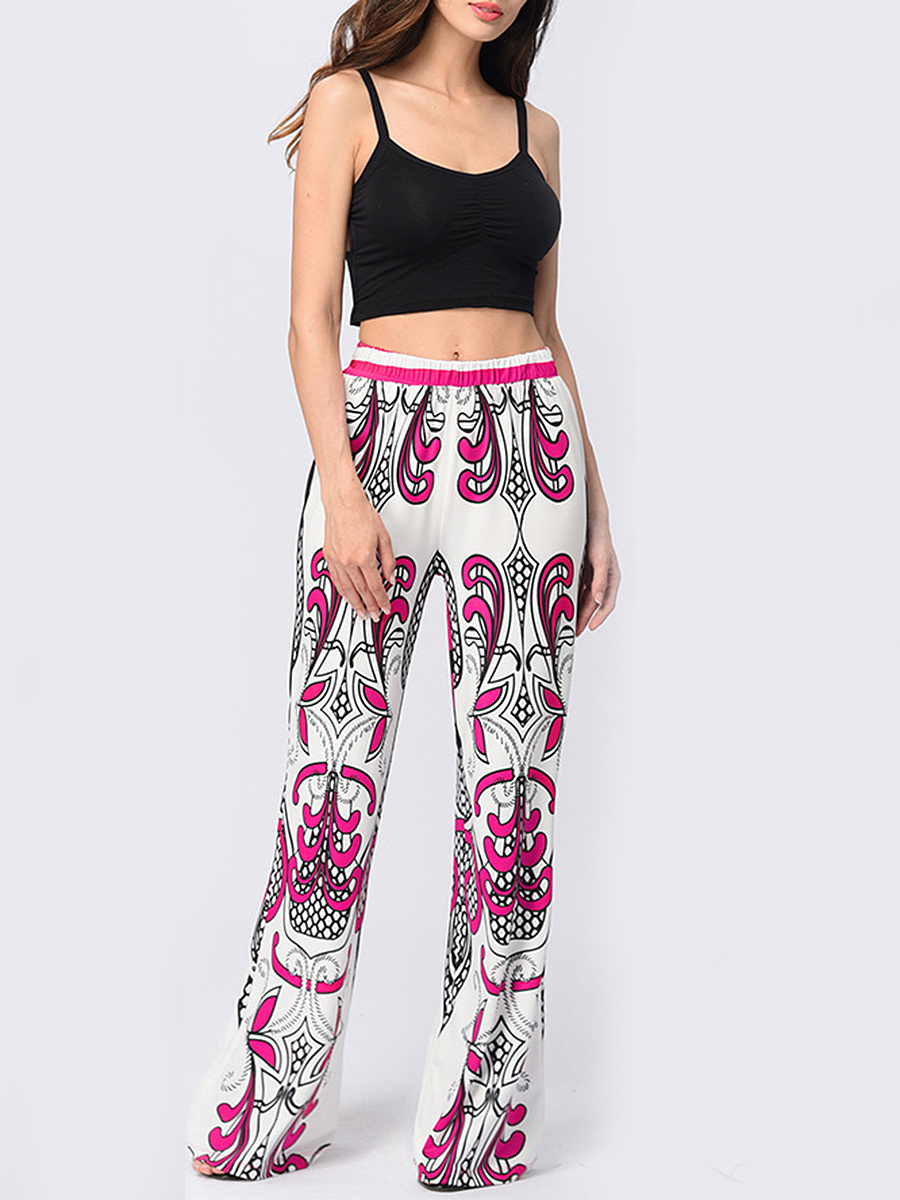 Fabulous Printed  Wide-Leg  Mid-Rise Casual Pants