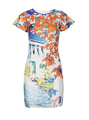 Fantastic Scenery Printed Crew Neck Bodycon Dress