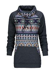 Turtleneck-Kangaroo-Pocket-Geometric-Sweatshirt