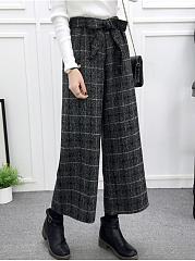 Woolen Belt Wide-Leg Casual Pants