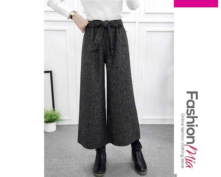 material:woolen, more_details:belt, bottom_length:long, occasion:office, season:winter, bottom_silhouette(pants&shorts):wide-leg, package_included:belt*1,bottom*1, lengthwaist