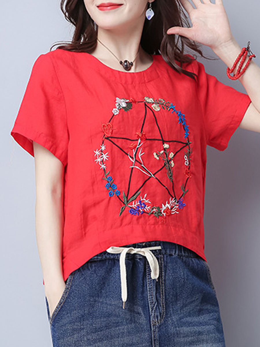Vented Embroidery Round Neck Short Sleeve T-Shirt