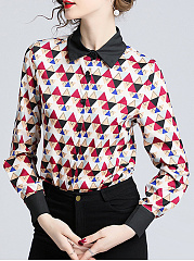 Autumn Spring  Women  Floral Printed  Long Sleeve Blouses