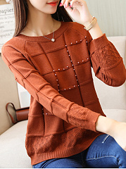 Round Neck  Beading Patchwork  Plain Knit Pullover