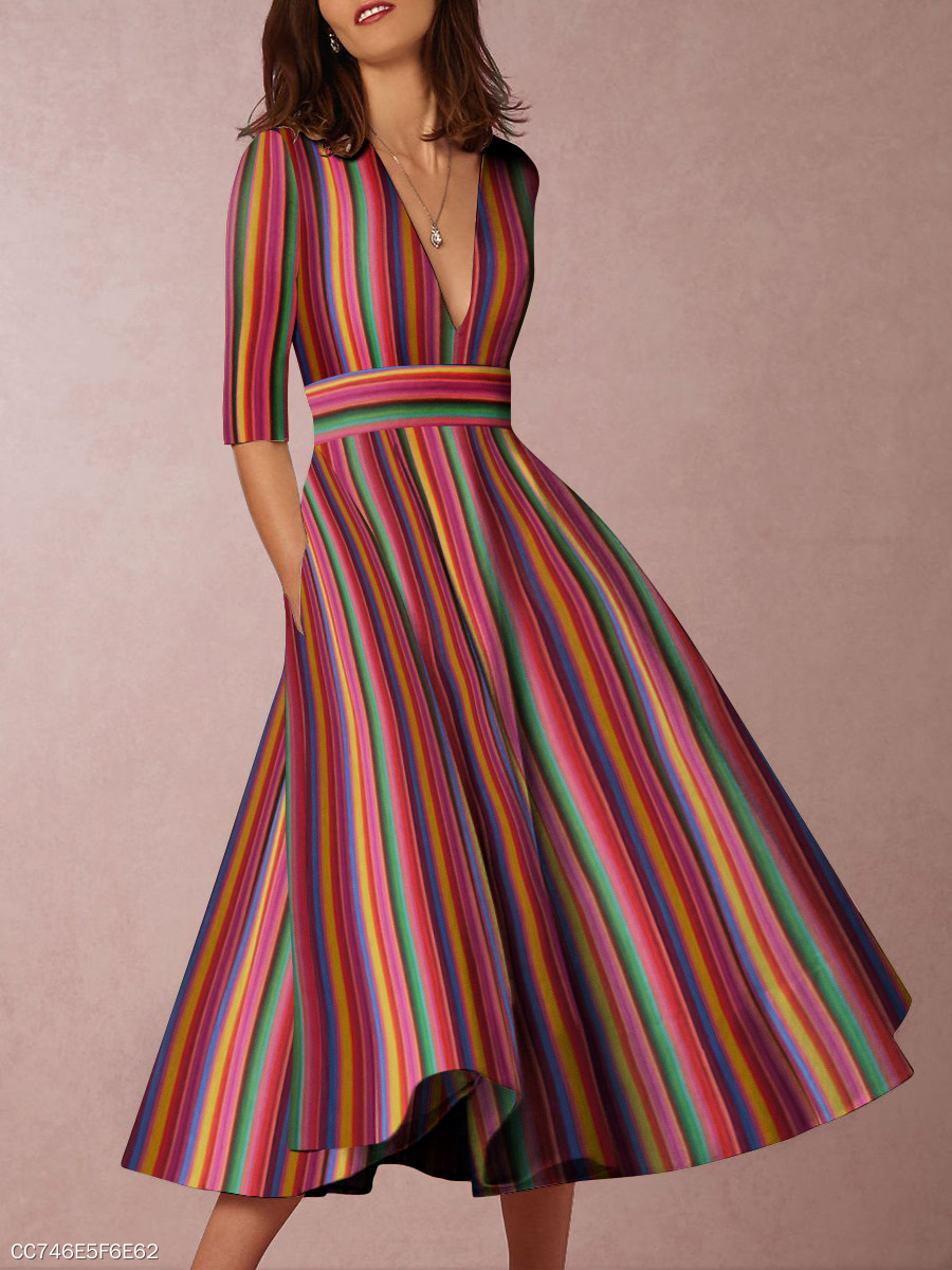 142070da862d Multicolor Sexy Deep V-Neck Vertical Striped Midi Skater DressCC746E5F6E62