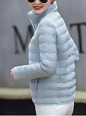 High Neck Pocket Quilted Plain Padded Coat