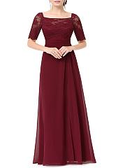 Square-Neck-Backless-Side-Slit-Plain-Blend-Evening-Dresses