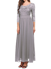 Round Neck  Patchwork  Plain Maxi Dress
