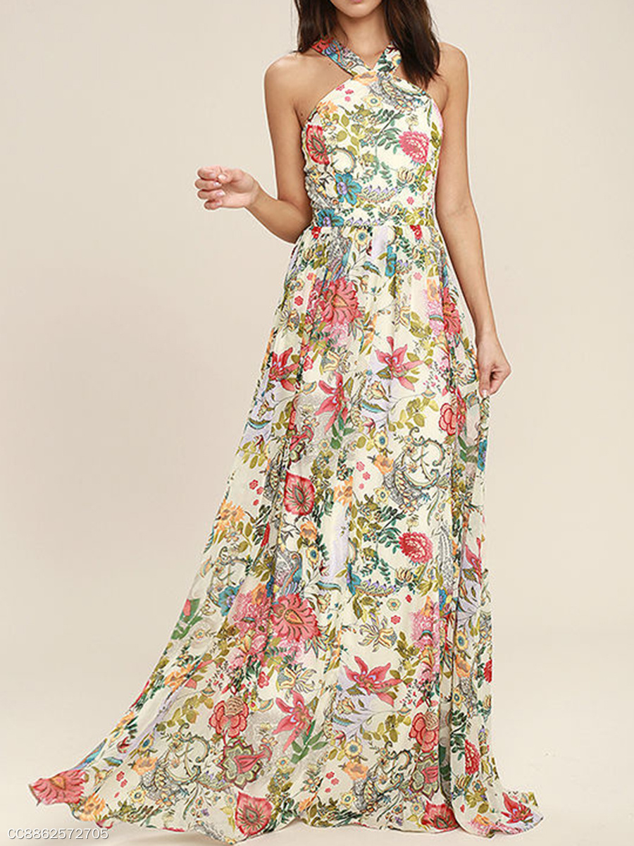 V-Neck  Ruffled Hem  Printed Maxi Dress
