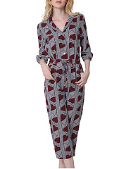 Lapel-Drawstring-Pocket-Heart-Printed-Midi-Romper