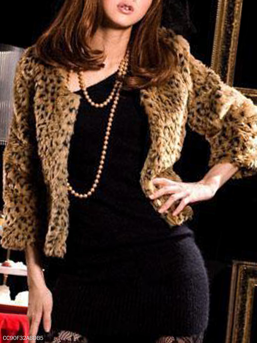 Round Neck  Leopard  Long Sleeve Coats