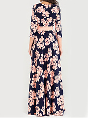 Round Neck Date Printed Maxi Dress
