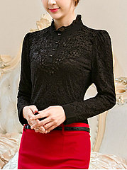 Band Collar  Decorative Button  Lace  Long Sleeve Blouses