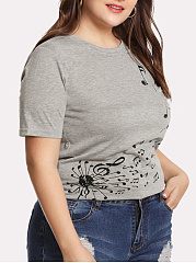 Crew Neck  Printed  Short Sleeve Plus Size T-Shirts