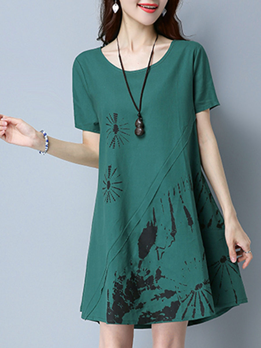 Round Neck Printed Pocket Shift Dress
