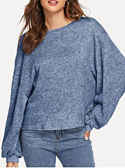 Round Neck  Loose Fitting  Plain  Batwing Sleeve Knit Pullover
