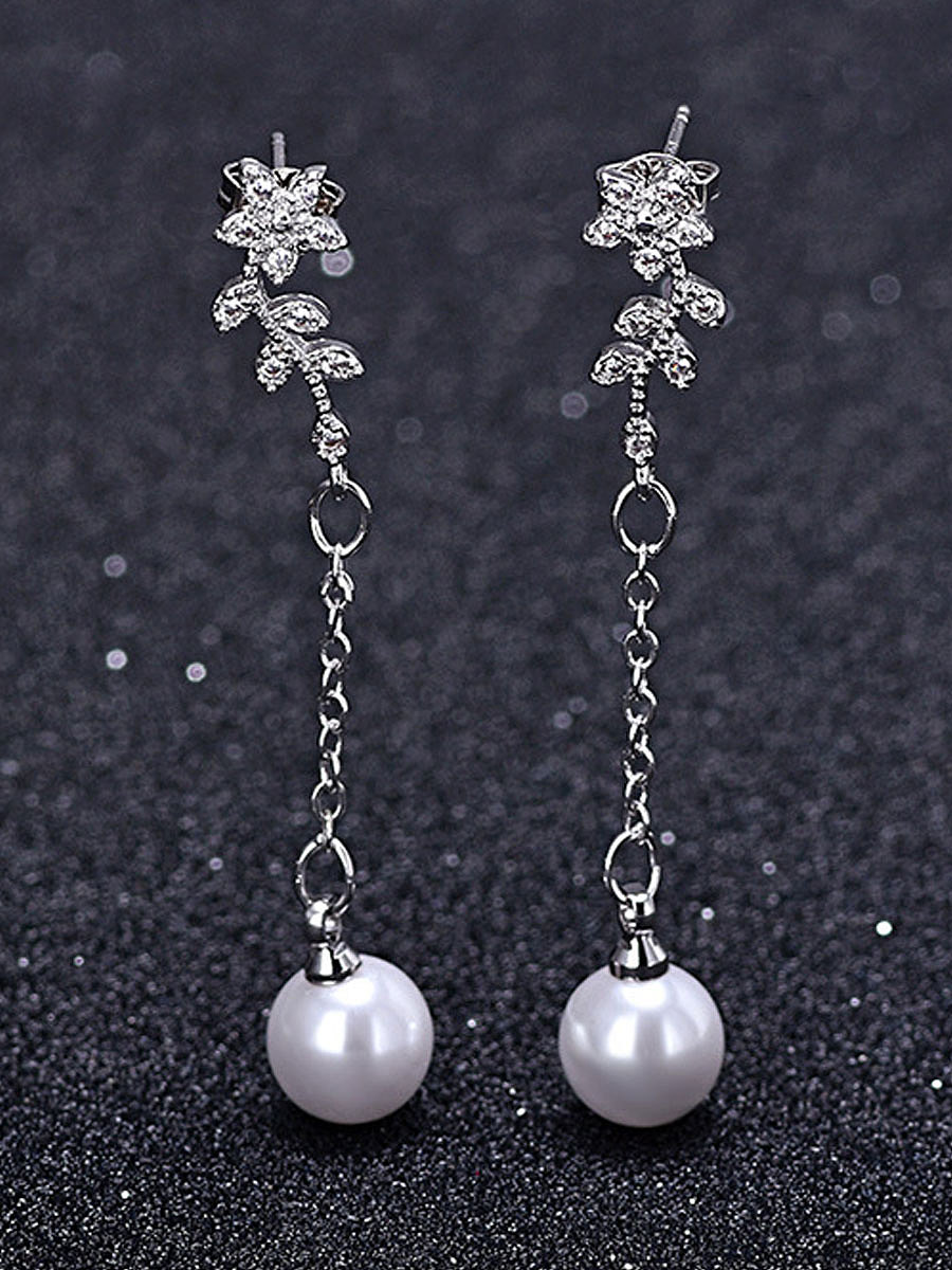 Faux Pearl Elegant Earrins For Women