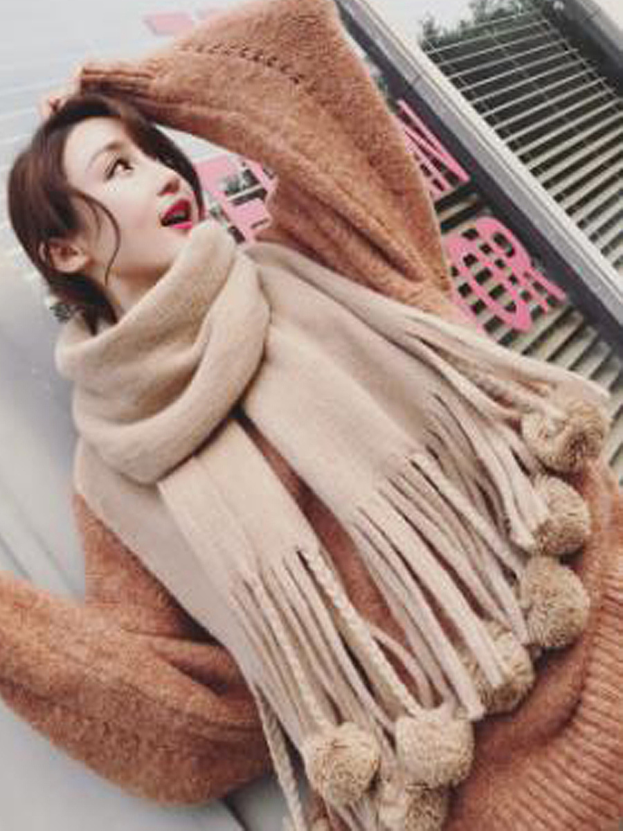 Lady Warm Tassel Decoration Long Velvet Scarf For Winter