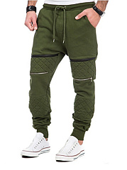 Mens-Zips-Elastic-Waist-Casual-Jogger-Pants