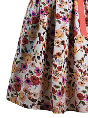 V-Neck  Bowknot  Floral Printed Casual Skater Dress