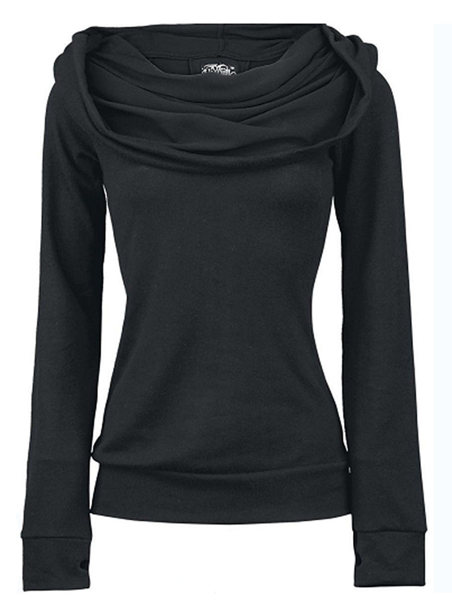 Cowl Neck Lace-Up Plain Hoodie