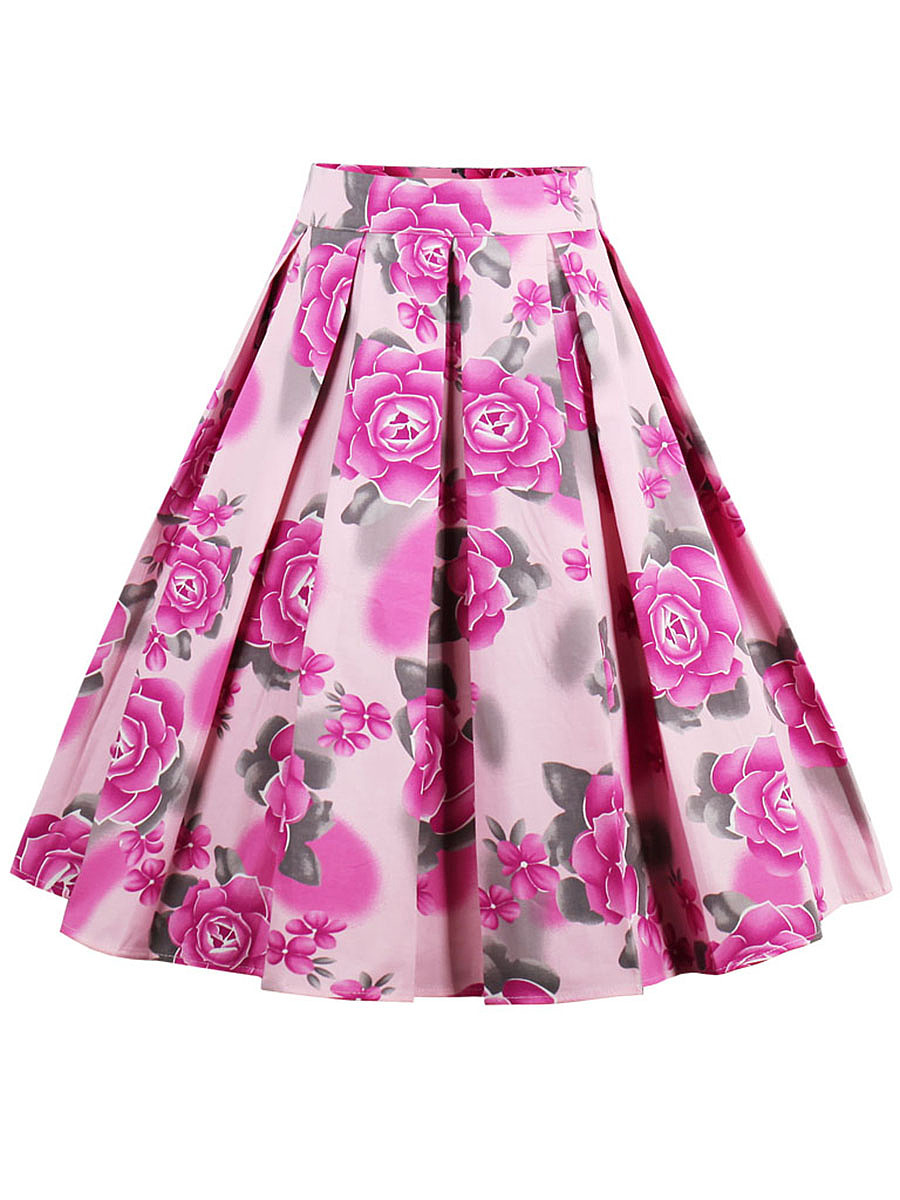 Delicate Inverted Pleat Floral Printed Flared Midi Skirt