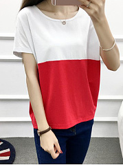 Summer  Cotton  Women  Round Neck  Color Block Short Sleeve T-Shirts