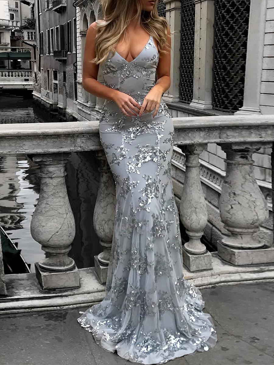 Spaghetti Strap  Lace-Up  Glitter  Plain Maxi Dress