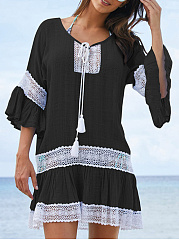 Round Neck  Lace Vacation Shift Dress