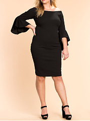 Open Shoulder  Slit  Plain Plus Size Bodycon Dress